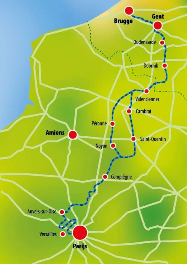 Bruges France Map.Tour From Brugge Belgium To Paris France Boat Bike Tours