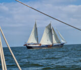 The ship sails over the IJsselmeer