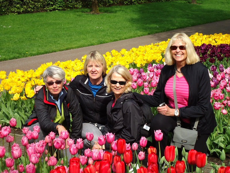 Guests among the tulips