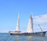 Ship crosses the IJsselmeer