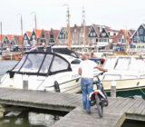 Cyclist in Volendam harbor