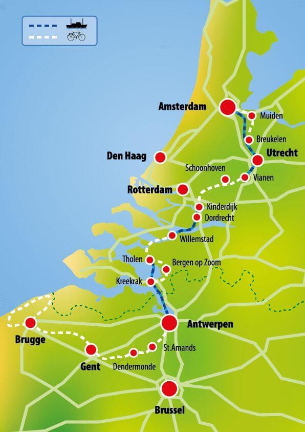 Bruges France Map.Tour Through Netherlands Amsterdam Bruges Boat Bike Tours