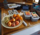 Breakfast table with fresh fruits