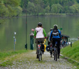 Danube cyclists at ferry dockingplace