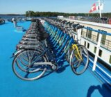 Orderly bicycles on deck