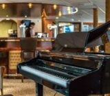 Piano in front of the bar