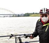 cyclist in Dordrecht waterbus