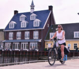 Cycling on the dock in Huizen